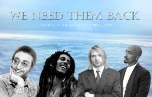 John Lennon -Bob Marley -Kurt Cobain -Tupac 2Pac by jamaicavb