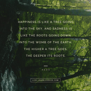 Happiness is like a tree going into the sky, and sadness is like the ...