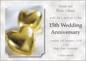 15th Wedding Anniversary Invitation - Style: Clouds - Single sided