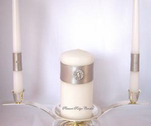 Unity Candle Silver Gray Bling Wedding Set Rhinestone Choice