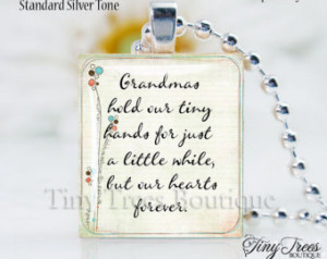 SALE - Recycled Scrabble Tile Resin Pendant- Grandma's Quote 1 ...