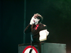 Marilyn Manson ripping up a bible on the Hey Cruel World… Tour
