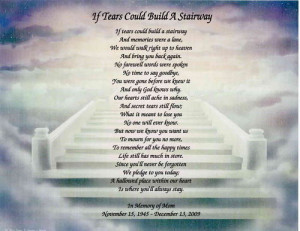 Memorial Personalized Poem Loss of Mother, Daughter, Wife, Father
