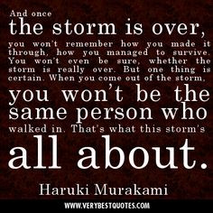 you managed to survive. You won't even be sure, whether the storm ...