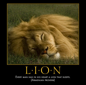 Lion Sayings Poster: lion that sleeps