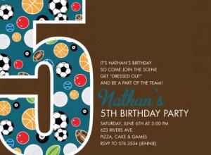 5th Birthday Sports Chocolate Birthday Invitations