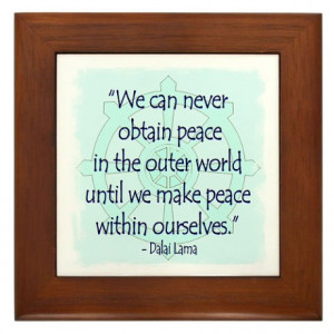 ... Gifts > Aum Living Room > DALAI LAMA PEACE WITHIN QUOTE Framed Tile