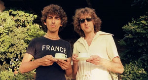 George Harrison with friend Monty Python member Eric Idle