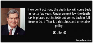 If we don't act now, the death tax will come back in just a few years ...