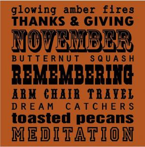 November Sayings Subway Art...