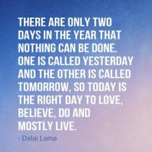 There are only two days in the year that nothing can be done. One is ...