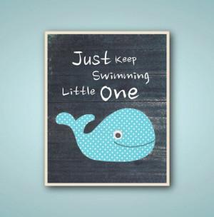 Whale bathroom nursery art - Kids art Boys room decor - quote Just ...