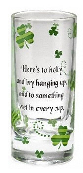 ... / TOASTS > Tall Shot Glass Shooters - Shamrock with Irish Toasts