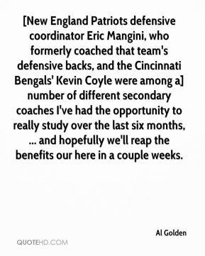 coached that team's defensive backs, and the Cincinnati Bengals ...