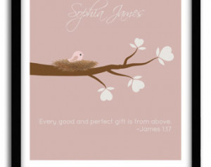 Personalized Baby Girl Christening Gift, Bible verse James 1:17