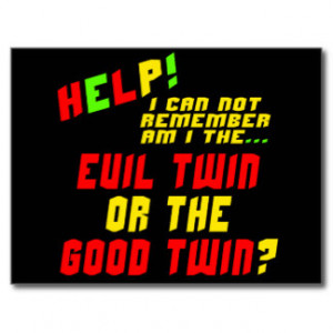 Funny Evil Twin T-shirts Gifts Post Card