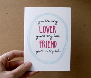 ... my lover you're my best friend rod stewart quote card letterhappy