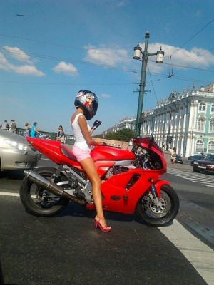 Funny photos funny cool girl riding motorcycle helmet