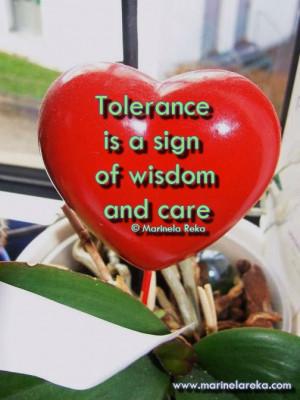 Quote about tolerance, marinela reka