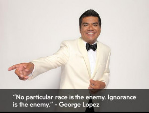 George Lopez in a white tuxedo