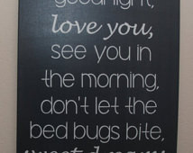 Custom canvas quote wall art sign - Good night, love you, see you in ...
