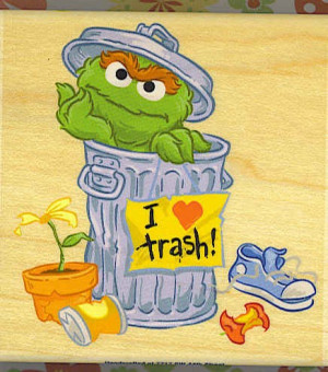 OSCAR THE GROUCH Rubber Stamp SESAME STREET I love trash Fun NEW Stamp
