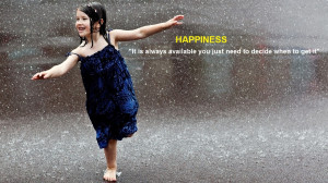 Happiness Quote Girl Dancing In The Rain