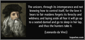 The unicorn, through its intemperance and not knowing how to control ...
