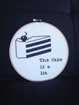 Portal quote cake cross stitch by FunWithNeedles on Etsy