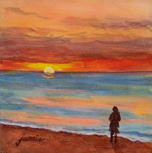 Beach Sunset Paintings Acrylic