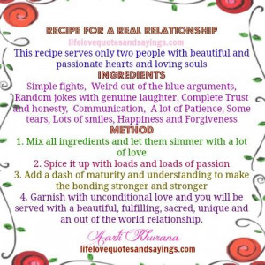 Recipe For A Perfect Relationship..
