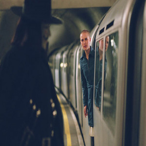 Guy Fawkes and Evey on the London Underground in V for Vendetta