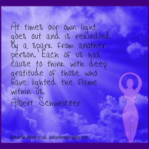 ... by a spark from another person.Albert Schweitzer gratitude quote