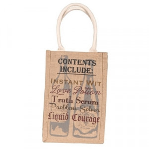 Wine Bottle Bag Burlap for Two Bottles with Funny Sayings
