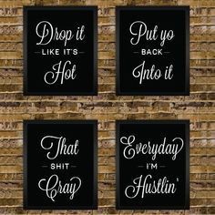 Gangster Rap Song Quote Poster - Office Cubicle Flair - Drop it like ...