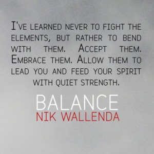 From Nik Wallenda's Balance (the tightrope walker) ... Good advice for ...