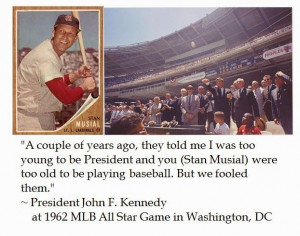 John F. Kennedy jokes about age with Stan Musial at 1962 MLB All-Star ...