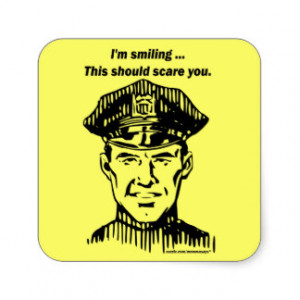 Smiling Policeman. Officer Humor Stickers