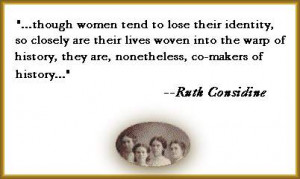 Quote from Ruth Considine's article, with cameo of young smiling women ...