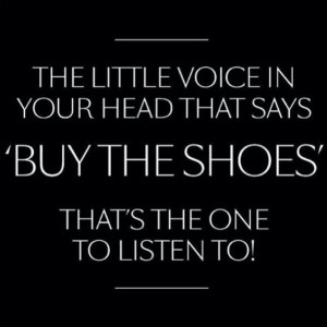 The little voice in your head thats says ''buy the shoes'' that's the ...
