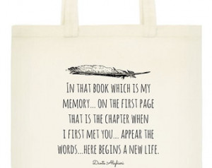 Dante Tote Bag - Book Bag - Dante A lighieri Quote - Literary Quote ...