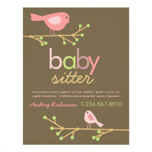 Mod Birds Babysitter Advertisement Flyers
