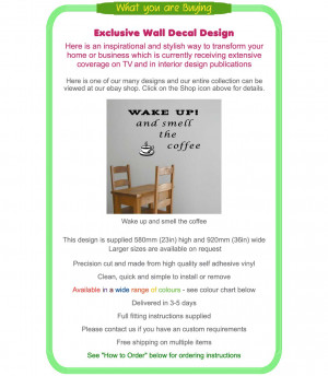 Details about WAKE UP AND SMELL THE COFFEE Wall Art Saying Quote