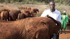 Yaya Toure visits baby elephants at the David Sheldrick Wildlife Trust ...