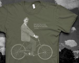 HG Wells Bike quote Tshirt Mens American Apparel color t-shirt