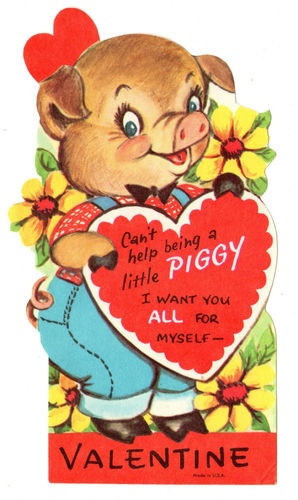 Vintage Unused Valentine with Cute Dressed Pig Piggy Hog Old Greeting ...