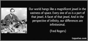 ... facet of that jewel. And in the perspective of infinity, our