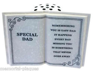 ... Dad-Grave-Book-Vase-Memorial-verse-Plaque-Graveside-Memoriam-Ornament