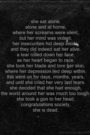 depressed depression sad suicide alone self harm society poetry ...