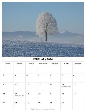 Calendar February Landscape